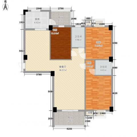 中民阳光城3室1厅2卫1厨117.12㎡户型图