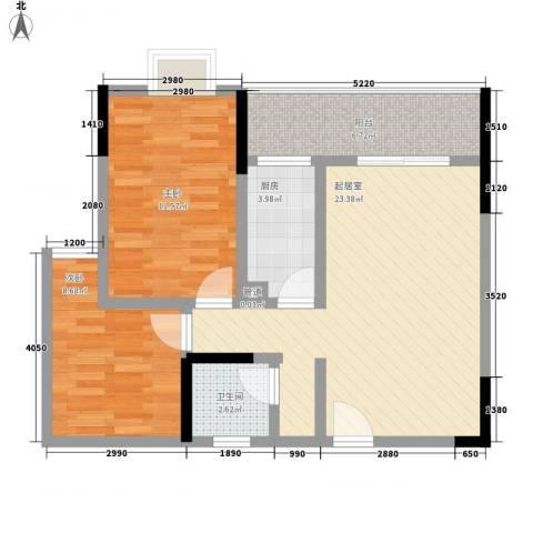 东升旭日华庭2室0厅1卫1厨80.00㎡户型图