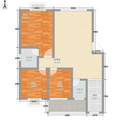 东升旭日华庭3室0厅2卫1厨114.00㎡户型图