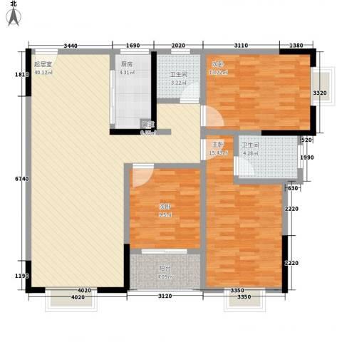 东升旭日华庭3室0厅2卫1厨122.00㎡户型图