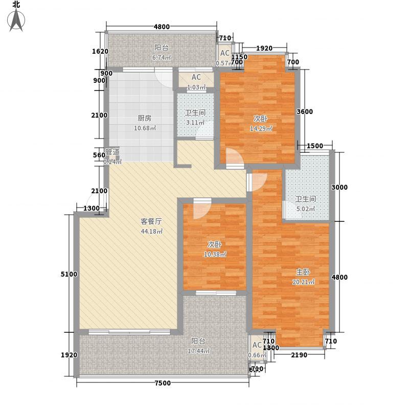 都市丽景2期9#B型户型3室2厅2卫1厨