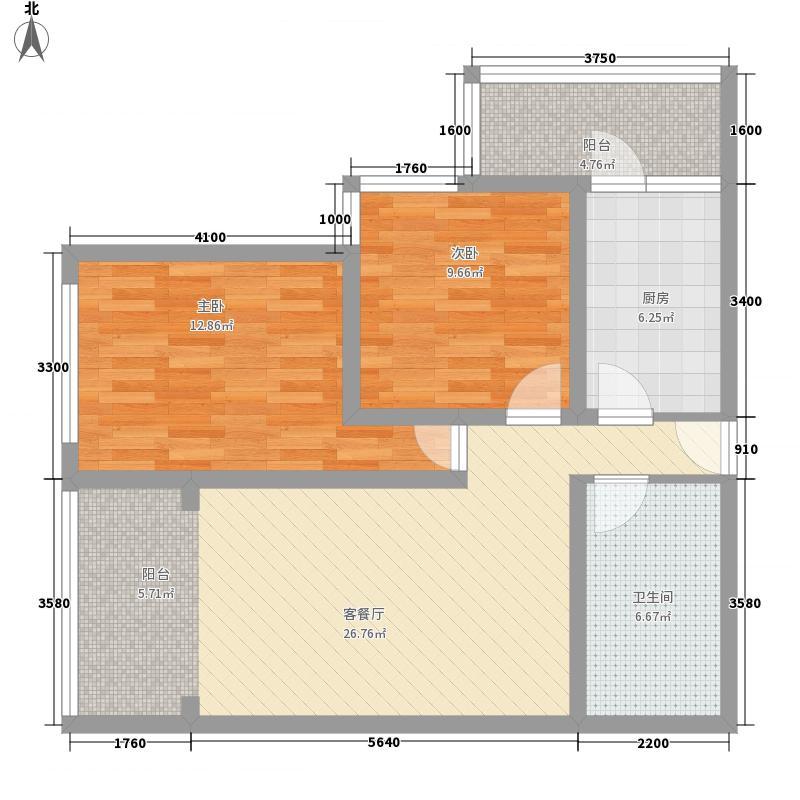 瑞景河畔家园6.30㎡B38号楼户型2室2厅1卫1厨