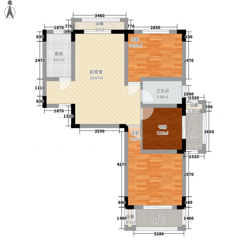 观澜华庭108.00㎡观澜华庭户型图6#楼D1户型3室2厅1卫1厨户型3室2厅1卫1厨