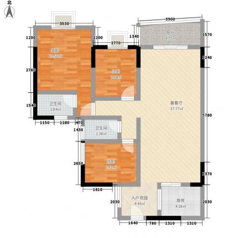 佳磊华丽大厦3室1厅2卫1厨117.00㎡户型图