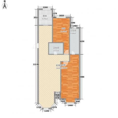 新星壹品御园2室0厅2卫1厨78.52㎡户型图