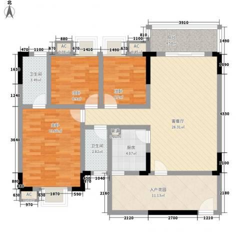 长银东郡3室1厅2卫1厨119.00㎡户型图