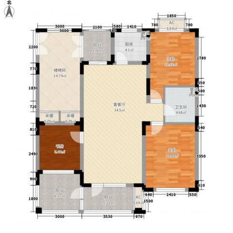 富奥新东区3室1厅1卫1厨112.04㎡户型图