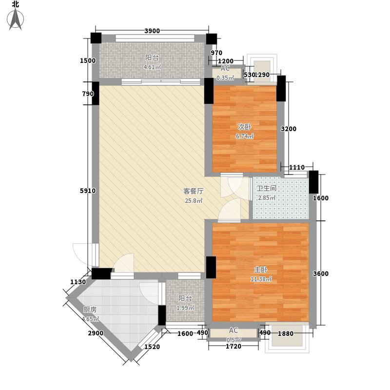 雅居蓝湾78.00㎡雅居蓝湾户型图八区J3户型3-5层2室2厅户型2室2厅