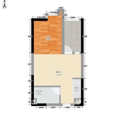 中海华庭1厅1卫0厨50.00㎡户型图