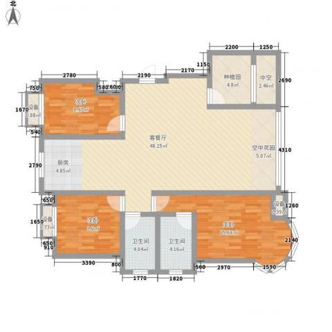 金洋石河湾3室1厅2卫0厨123.00㎡户型图