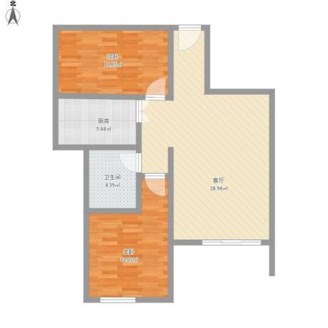 东方海岸2室1厅1卫1厨88.00㎡户型图