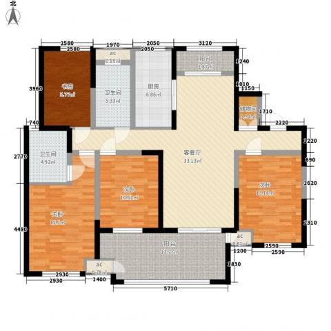 新城公馆别墅4室1厅2卫1厨163.00㎡户型图
