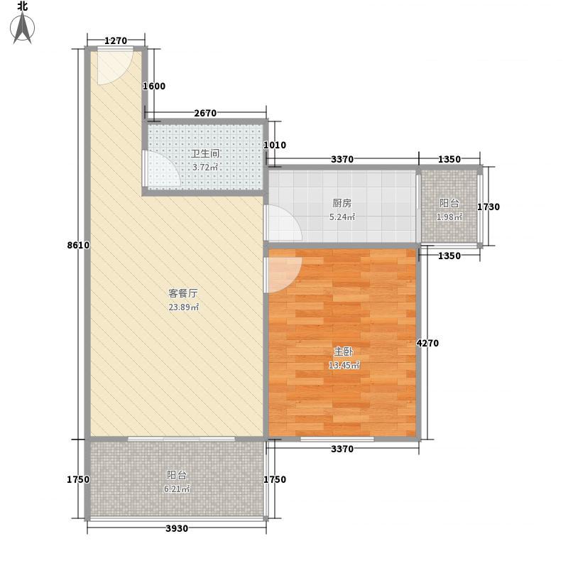 鑫兆丽园亚北新区73.78㎡户型A2户型1室1厅1卫1厨