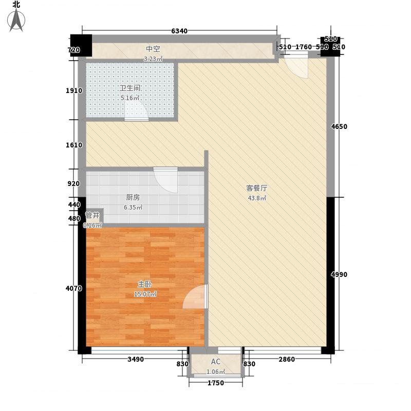 新金山115.82㎡标准间套间户型1室1厅1卫1厨