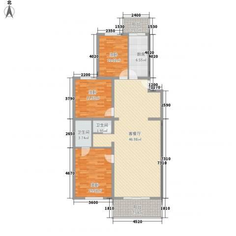 鑫兆丽园亚北新区3室1厅2卫1厨119.67㎡户型图