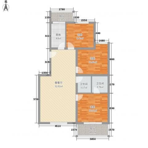 鑫兆丽园亚北新区3室1厅2卫1厨98.00㎡户型图