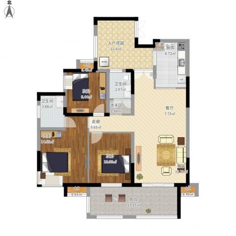 复地城就3室1厅2卫1厨154.00㎡户型图