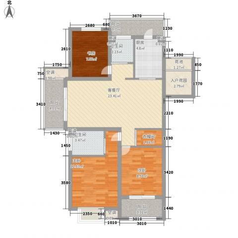 锦园3室1厅2卫1厨80.99㎡户型图