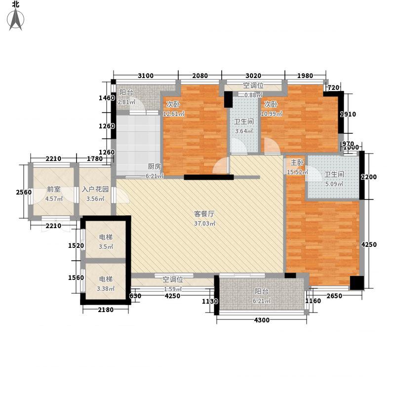 龙腾豪园122.17㎡一期13号楼标准层02户型3室2厅2卫1厨