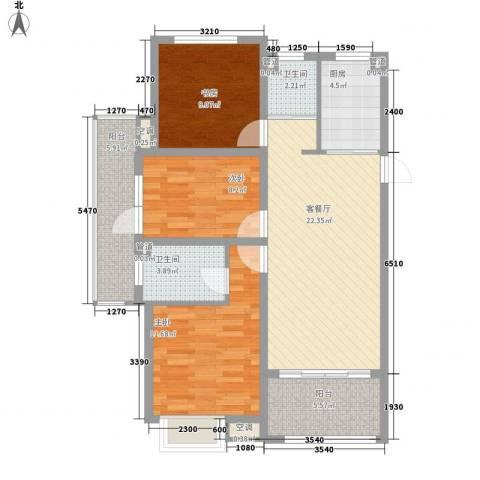 锦园3室1厅2卫1厨74.11㎡户型图