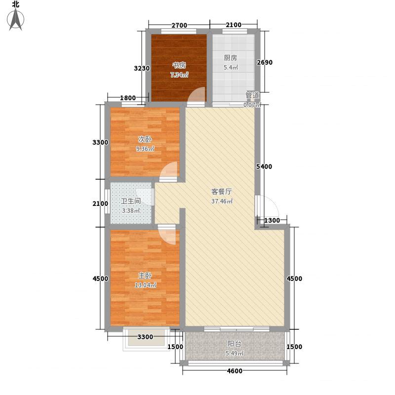 月湖名邸13.00㎡A户型3室2厅1卫1厨
