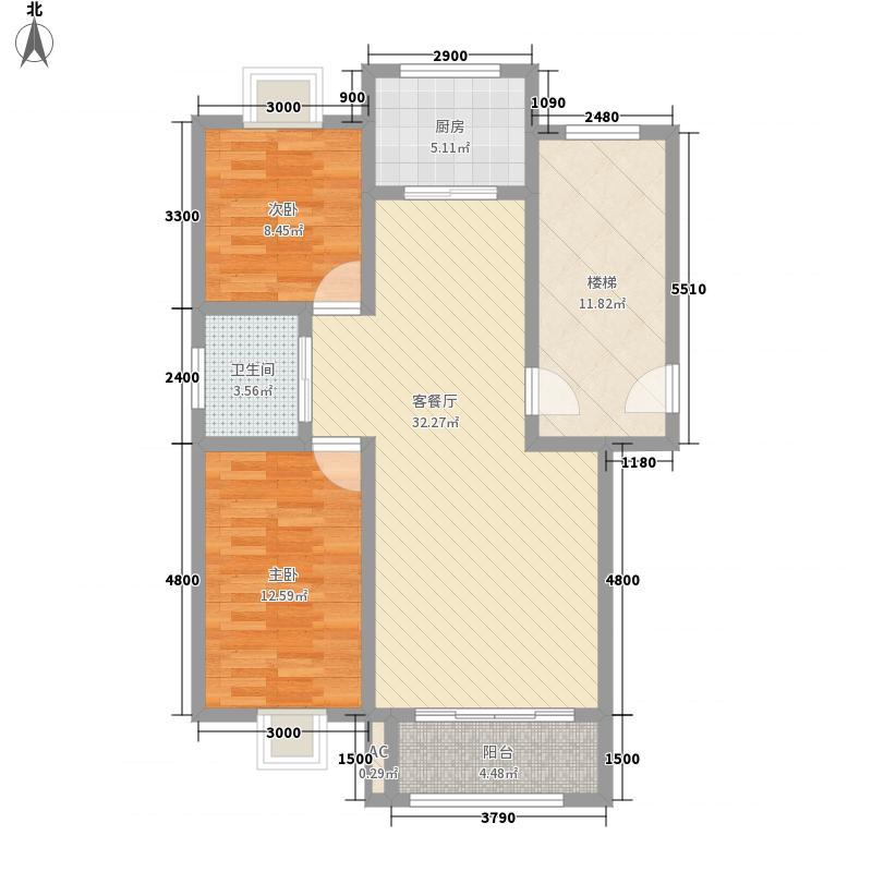 月湖名邸4.00㎡B户型2室2厅1卫1厨