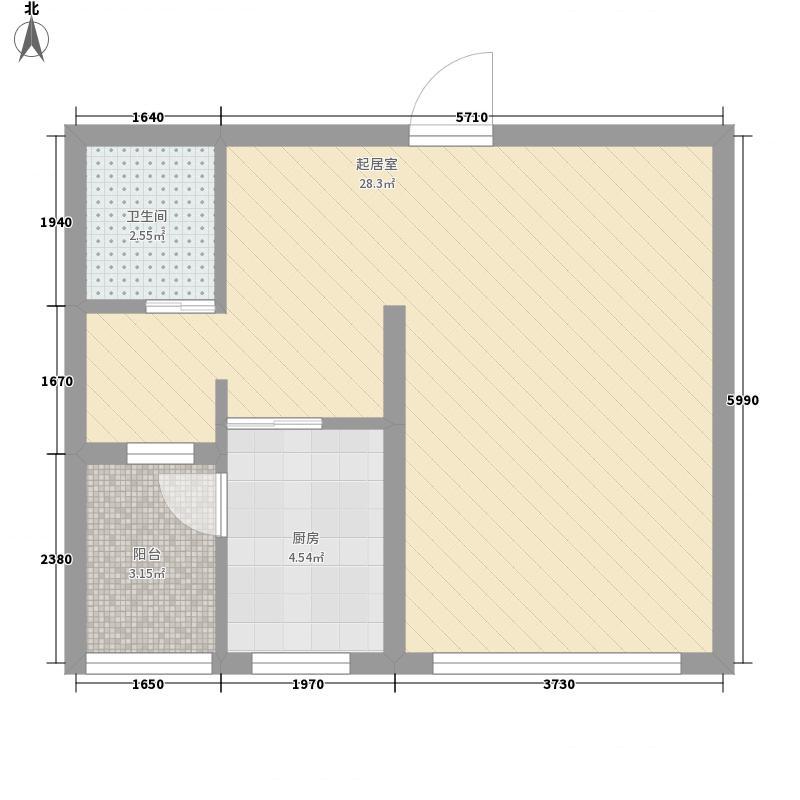 雅世・乐府兰庭55.30㎡二期B1#楼中间户D1户型1室1厅1卫1厨