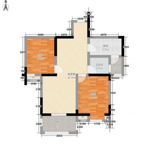 瑶东北村2室0厅1卫1厨84.00㎡户型图
