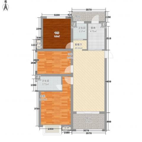 锦园3室1厅2卫1厨74.15㎡户型图