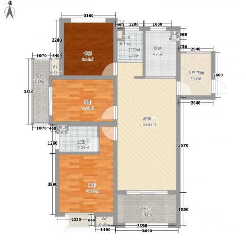 锦园3室1厅2卫1厨116.00㎡户型图