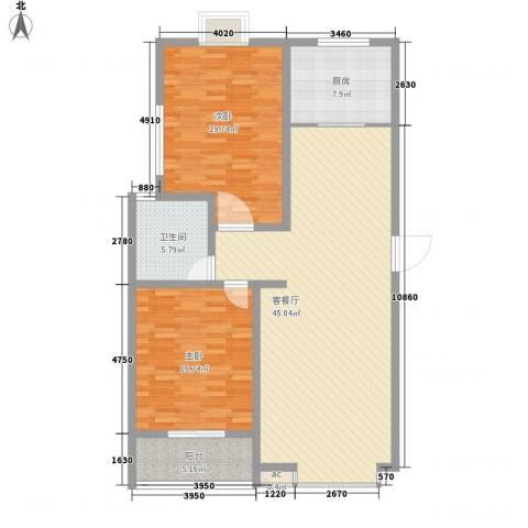 润达小区2室1厅1卫1厨113.00㎡户型图