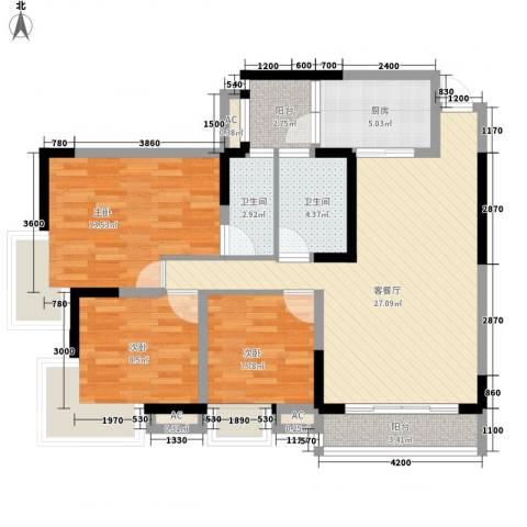 龙凤大厦3室1厅2卫1厨113.00㎡户型图