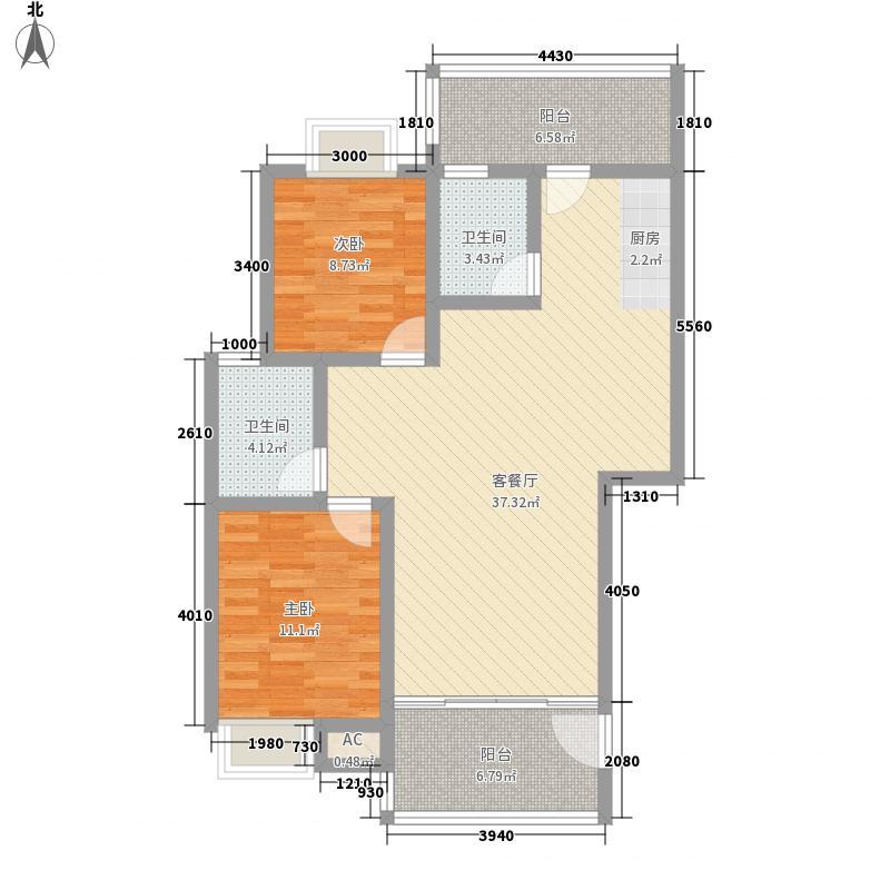 都市丽景6.43㎡户型2室2厅2卫1厨
