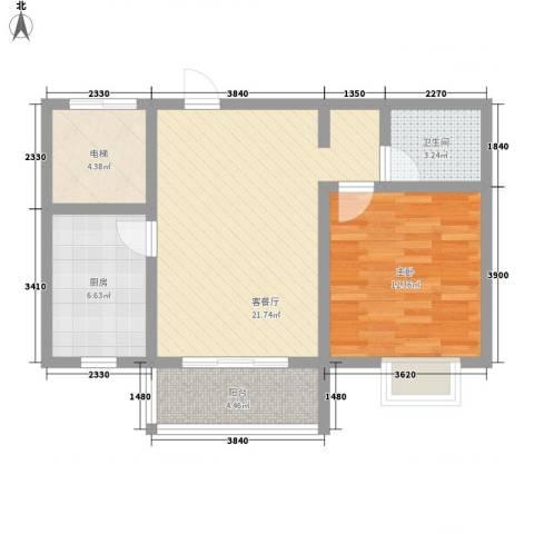 润达小区1室1厅1卫1厨62.00㎡户型图