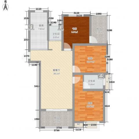 锦园3室1厅2卫1厨123.00㎡户型图