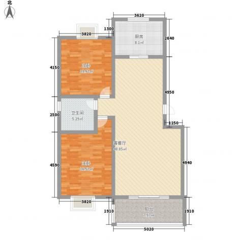 润达小区2室1厅1卫1厨104.00㎡户型图