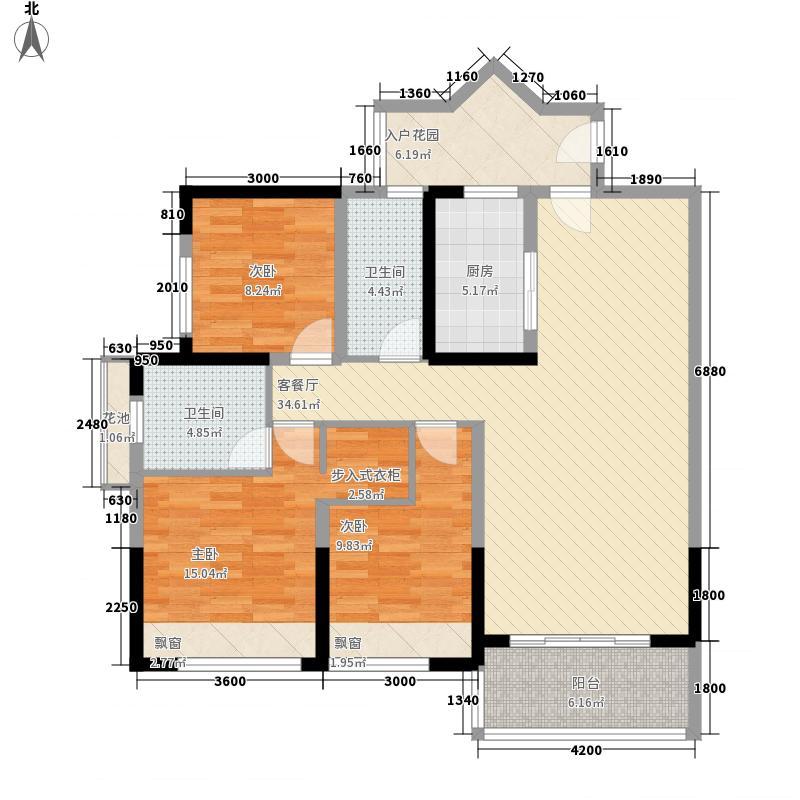 旺东国际广场121.00㎡F户型3室2厅2卫1厨
