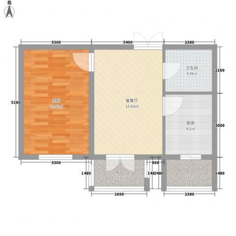 金京赛丽斯1室1厅1卫1厨47.05㎡户型图