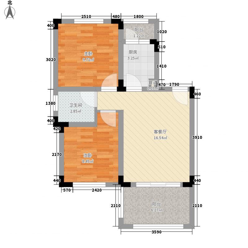 天籁谷国际度假区62.60㎡一期MINI别墅C1一层1号楼户型2室2厅1卫1厨