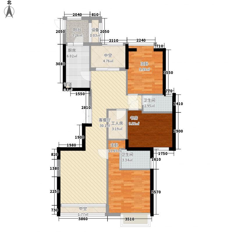 永兴郦江131.00㎡2号楼03锦馥园户型3室2厅2卫1厨