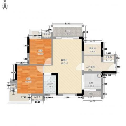 万科天景花园2室1厅1卫1厨80.00㎡户型图