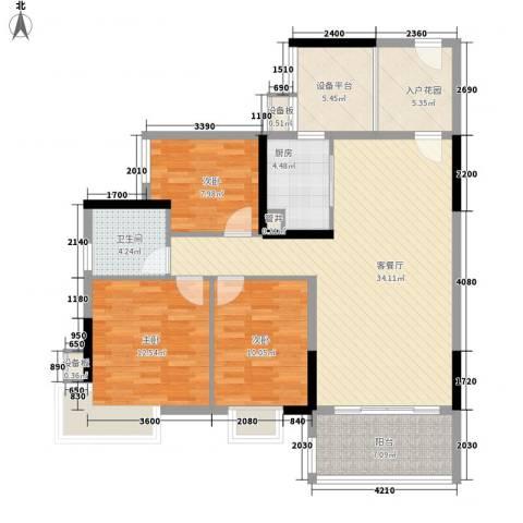 万科天景花园3室1厅1卫1厨92.36㎡户型图