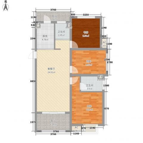 锦园3室1厅2卫1厨113.00㎡户型图