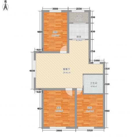 西郡帝景3室1厅1卫1厨92.22㎡户型图
