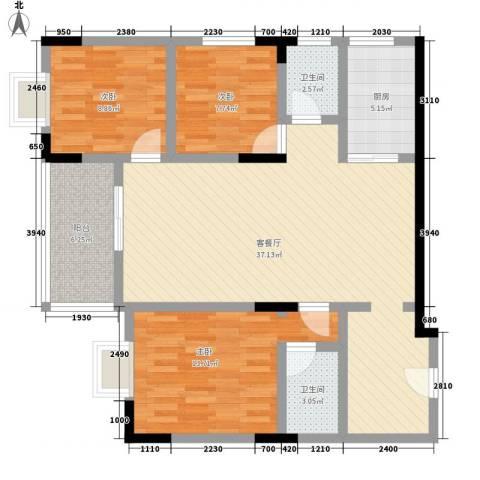 佳磊华丽大厦3室1厅2卫1厨123.00㎡户型图
