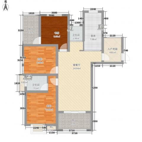 锦园3室1厅2卫1厨125.00㎡户型图