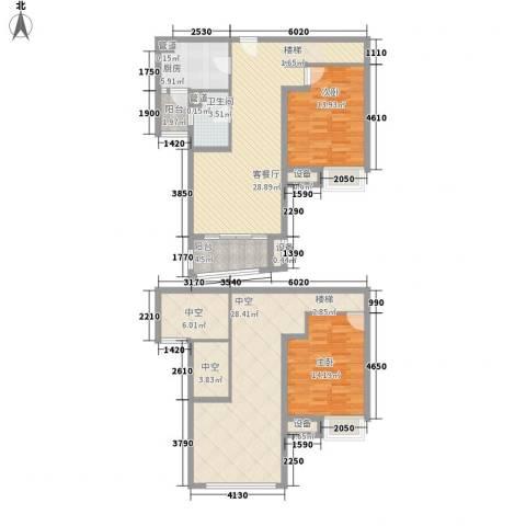 鸿城・铂兰湾2室1厅1卫1厨130.74㎡户型图