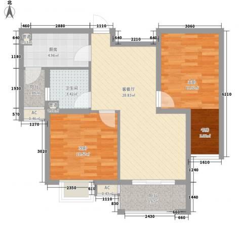 锦园2室1厅1卫1厨87.00㎡户型图
