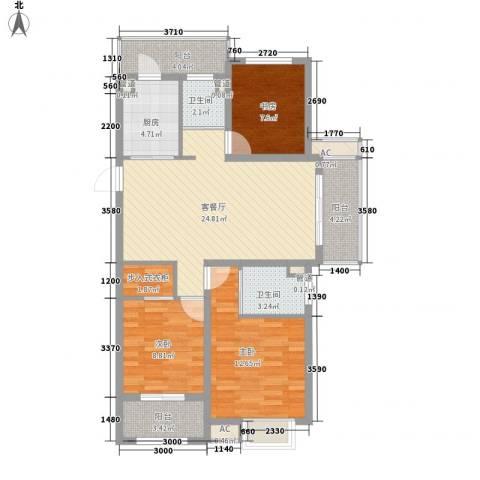 锦园3室1厅2卫1厨118.00㎡户型图