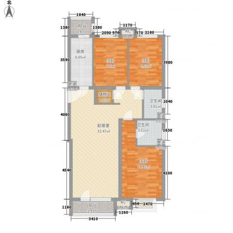 金融街・金色漫香郡3室0厅2卫1厨124.00㎡户型图